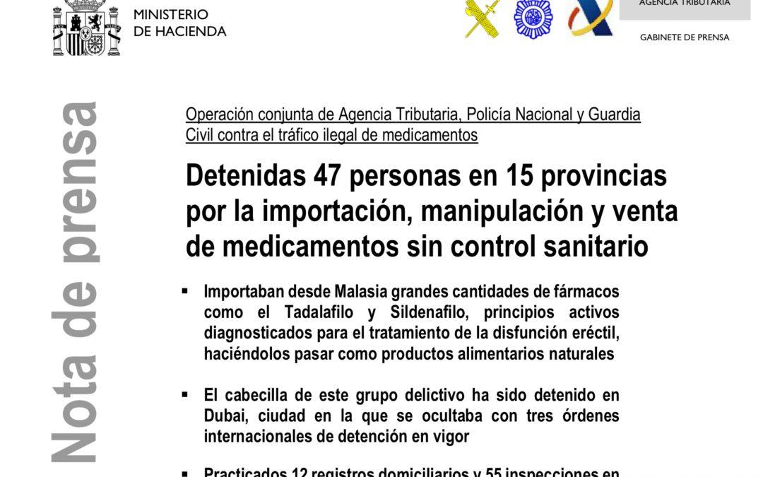 Detenciones de la Agencia Tributaria Española ;-) Si necesitas viagra ves al médico, no seas gili….