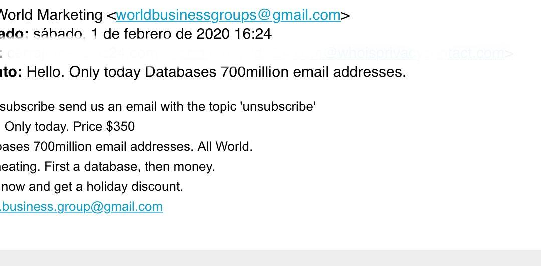 Así es como os llegan los correos spam / basura.