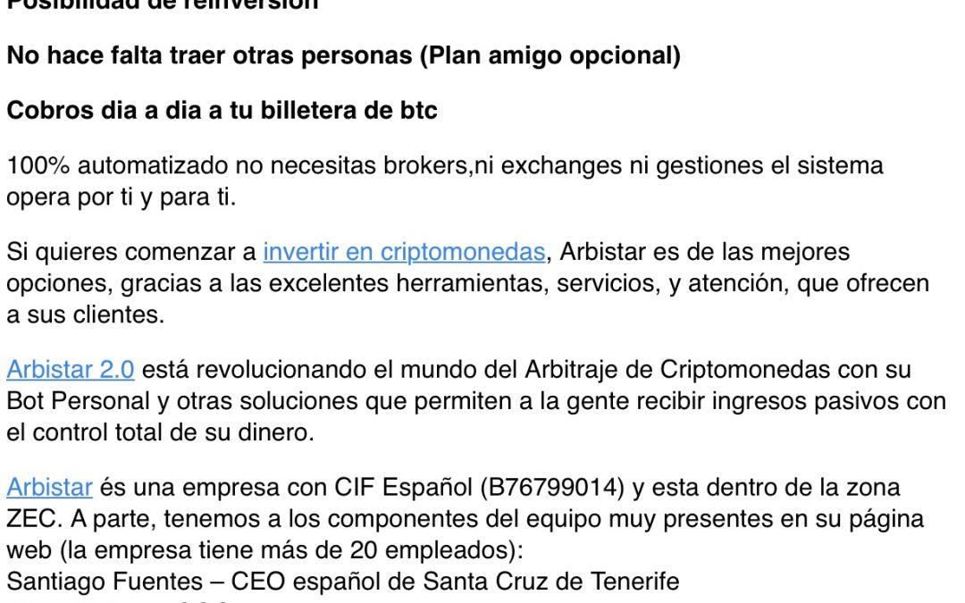Captación de clientes de Arbistasr 2.0.