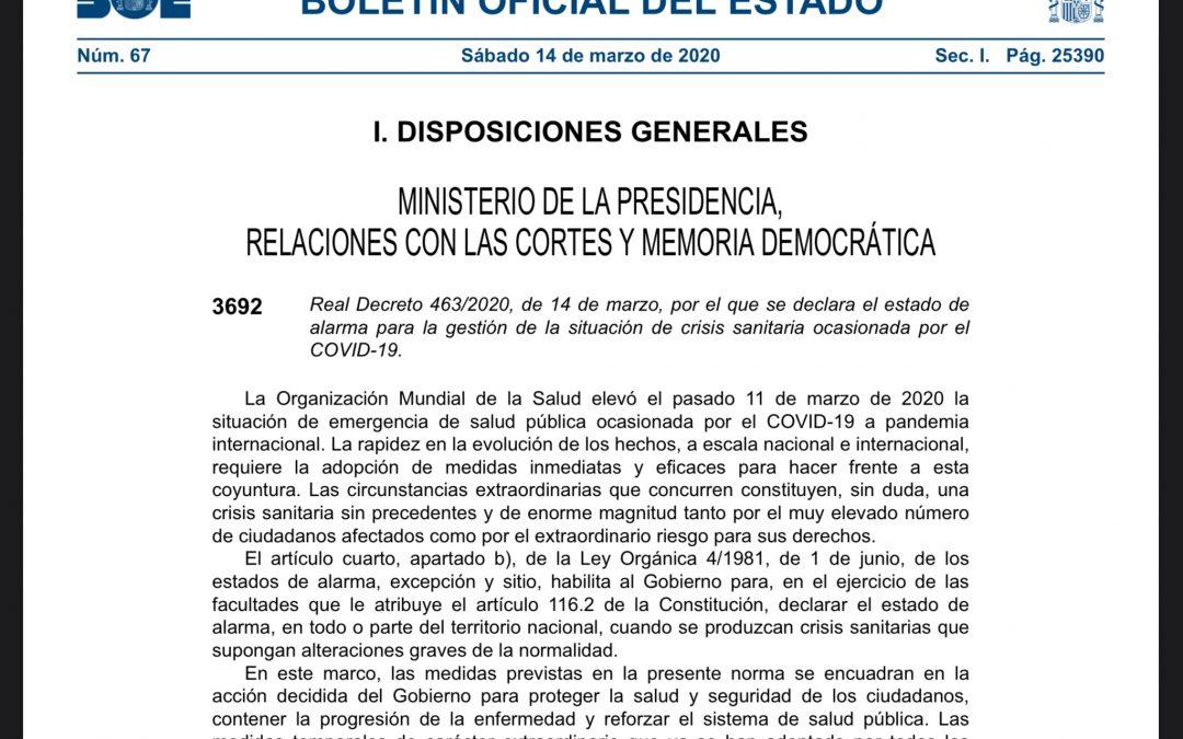 BOE: documento de declaración de estado de alarma en España ante el COVID-19