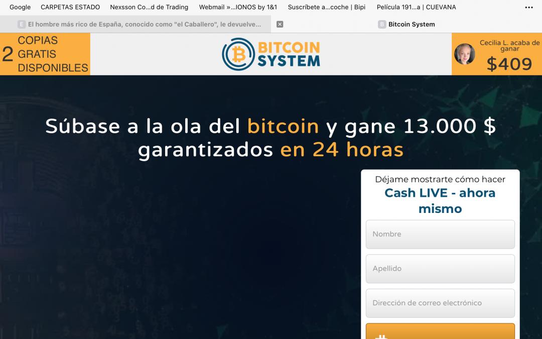 www.bitcoinsystemwebsoft.com: otro scam prometiendo beneficios millonarios